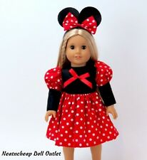 "Minnie Mouse Red Costume Dress Ear Headband  Fits 18"" American Girl Doll 2pc"