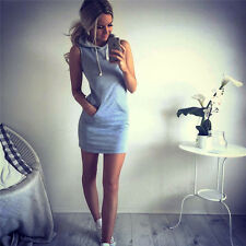 Sexy Women Sleeveless Party Evening Hoodie Bodycon Summer Beach Short Mini Dress