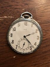 1928 ELGIN Pocket Watch 12s 17j Gold Illinois 14k White GF Case Art Deco Runs