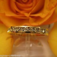 BAGUE FEMME ALLIANCE  PL/OR 14 K  DIAMANTS cz
