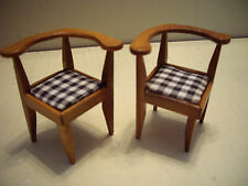 Handcrafted Miniature Wood Oak Finish Doll House Curved Back Chairs