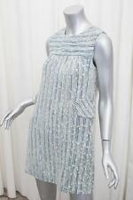 MARC JACOBS Womens Blue+White Wool Blend Striped Sleeveless Shift Dress 6/S NEW