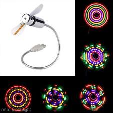 Tragbar Flexibl Bunt LED-Licht USB Mini-Ventilator Für Computer-Notebook-PC