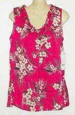 NWT Ladies NOTATIONS Fuchsia pink Sleeveless Satin Floral Blouse M New Top $28