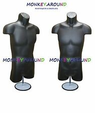 1 Male Mannequin Dress Body Men Torso Black Form +1 Hook 1 Stand Display Shirt
