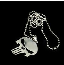 "316 Stainless steel Skull Pendant with 24"" Soldier Dog Tag Chain Necklace sk"