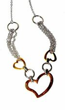 Heart Necklace Rose Gold and Stainless Steel 22 in