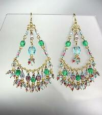 GORGEOUS Multicolor Crystals Peruvian Beads Gold Chandelier Dangle Earrings B25