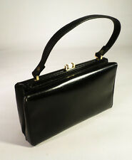 Vintage 1960s Sacha Made in France Black Genuine Boxcalf Leather Purse Gold Tone