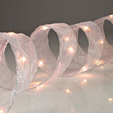 White Mesh Ribbon with LED lights.