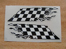 """Checker  Flag  """"ripped"""" style stickers - 150mm decals x2"""