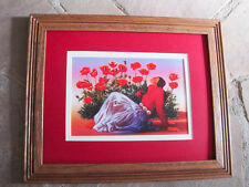 R C Gorman,Woman with Poppies  Framed matted  print