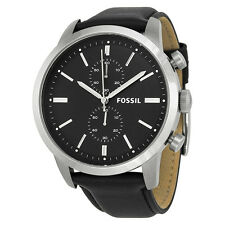 Fossil Townsman Chronograph Black Dial Black Leather Mens Watch FS4866