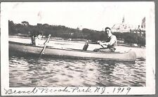 VINTAGE 1919 BRANCH BROOK PARK NEWARK NEW JERSEY YOUNG COUPLE IN CANOE OLD PHOTO