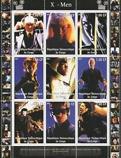 X-MEN HUGH JACKMAN WOLVERINE COMIC BOOK MOVIE CONGO 2001 MNH STAMP SHEETLET