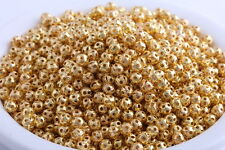 200 pcs 4mm Gold Plated hollow loose spacer Beads Charms Jewelry Findings