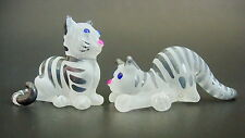 2 Tiny Glass CATS, KITTENS, Stripy Black & White Painted Glass Animals Ornaments