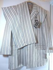 Paitano Mens Size 48R Suit Taupe White Striped Polyester Blazer Sport Coat Pants