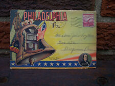 VINTAGE 1937 Philadelphia PA. POST CARD BOOKLET W/ 2 Cent Stamp ARMY & NAVY