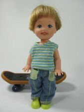 Barbie Kelly Blonde Tommy Doll in Green Play Shirt, Jeans & Shoes on Skateboard!