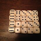 20 x 12mm Opaque Ivory Six Sided spot Dice Games D6 D&D RPG