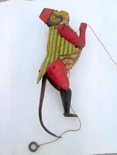 Vintage Old Collectible Mechanical Monkey Jumping On Rope Litho Print Tin Toy