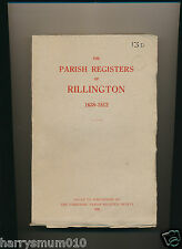 The Parish registers Rillington 1638 1812 Yorkshire society  BS20