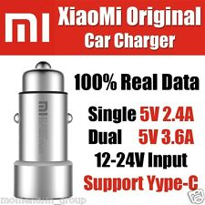 ORIGINAL MI  XIAOMI DUAL USB METAL APPEARANCE QUICK CHARGE CAR CHARGER - SILVER