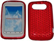For HTC Wildfire S A510e G13 Pattern Soft Gel Jelly Case Protector Cover Red UK