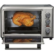 Stainless Steel 10 Slice Convection Toaster Oven & Rotisserie, Pizza Broil-Bake