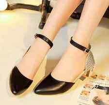 Womens Fashion  Ankle Strap Low Block High Heels Pumps Mary Jane Shoes