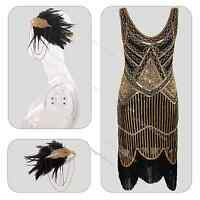 1920s Flapper Fancy Dress Costume Gatsby Beads Sequin Fringed Dress 6 10 14 18