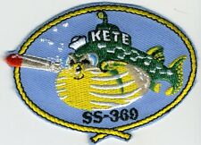 """USS Kete SS 360 - Sub fish blowing torpedo mouth 3"""" BC Patch Cat No C5567"""