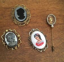 Vintage Lot of 4 Cameo Pendants Pins Stick Pin Rhinestones 1960s Mid Century 50s