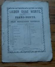 Songs Without Words, Venetian Gondola Song, VERY OLD SHEET MUSIC