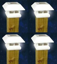 4 White New Outdoor Garden Solar Panel Post Deck Cap Light