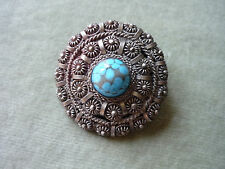 BROOCH/PENDANT/ HAND CRAFTED/ CENTER STONE TURQUOISE COLOR/GORGEOUS