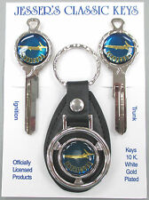 Plymouth Blue Barracuda Fish Classic White Gold Deluxe Key Set  1966 67 68 1969