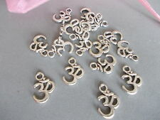 20 X OHM SYMBOL, HIPPY,YOGA,NEW AGE,SILVER COLOR TIBETAN METAL CHARMS/PENDANTS