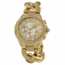 NEW Michael Kors MK3248 Camille Gold Rope Glitz Pave Crystal Dial Ladies Watch