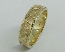R031-  Genuine 9ct SOLID Yellow Gold Blossom Embossed Wedding BAND Ring size L