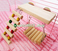 1pcs Wooden Hanging Ladder Swing Bridge Cage Toys for Mouse Parrot Bird Hamster
