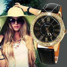 Schwarz Stylish Geneva Strass Armbanduhren  Leder Damen Analog Quarzuhr Watch DE