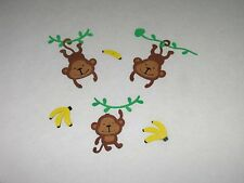 DIE CUTS SeT 3 MONKEYS 3 VINES & 3 BANANAS SCRAPBOOKING CARD & PARTY DECORATIONS