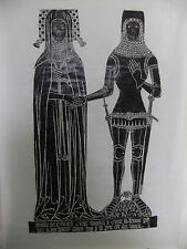 Brass rubbing DRAYCOTT CERNE, WILTSHIRE, SIR EDWARD CERNE &widow ELYNE 1393 42/2