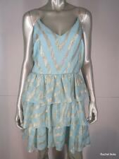 NWT $440 BADGLEY MISCHKA MARK JAMES 8 M Pale Blue Metallic Silver Tiered Dress