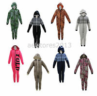 Girls Boys Kids All In One Onesie Hooded Jumpsuit Sleepsuit Pyjamas Age 7-13