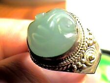 Sterling Silver 925 ring FACE CHALCEDONY NATURAL CARVING HANDMADE OLD  SZ 8.5