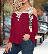 PLUS SIZE~Sexy Boho Lace Off Shouder Casual T-Shirt Tops Blouses Shirts Top