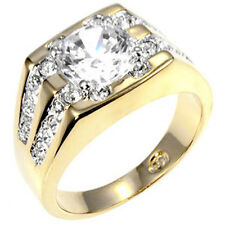 8 mm 4 Ct. April Clear CZ Birthstone Two Tone Men's Ring Jewelry Size Size 14